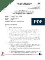 Acta Reunión de Líderes Estudiantiles y el Presidente Interino de la UPR