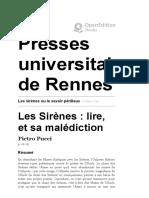Mythologie - Les sirènes ou le savoir périlleux - Les Sirènes_ lire, et sa malédiction - Presses universitaires de Rennes