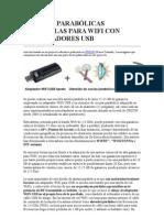 ANTENAS PARABÓLICAS SENCILLAS PARA WIFI CON ADAPTADORES USB