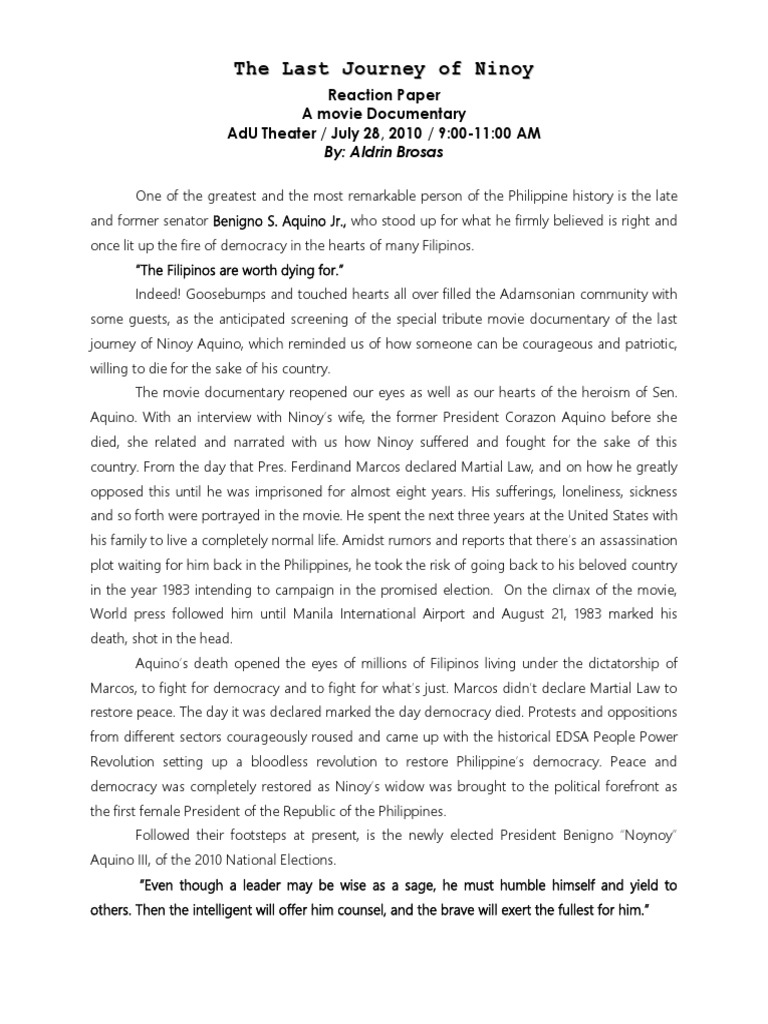 history reaction paper Open document below is a free excerpt of philippine history reaction paper from anti essays, your source for free research papers, essays, and term paper examples.