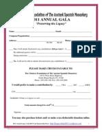 Annual Legacy Gala 2011 Sponsorship Form