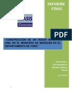 Informe construcción Hogar Materno en el Municipio de  Morazán _ Honduras_