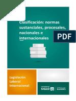 Clasificación - normas sustanciales, procesales, nacionales e internacionales
