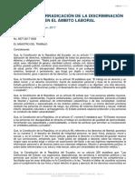 Acuerdo Ministerial 82 Normativa erradicación de la discriminación en el ámbito laboral (2017)