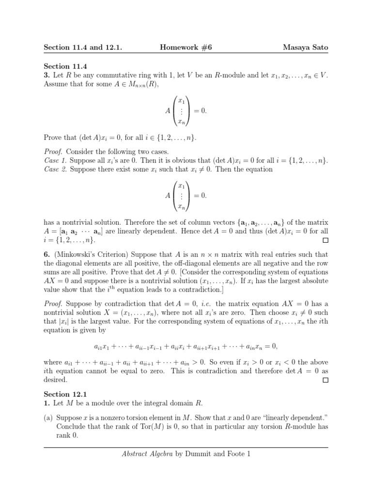 abstract algebra homework solutions