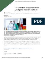 Coronavirus_ in Veneto 8 nuovi casi nelle 24 ore, salgono ricoveri e attuali positivi