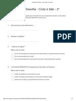 Evaluación Filosofía - Ciclo 6 Sáb - 2° periodo - Formularios de Google
