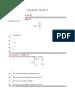 Calculus I Final 2010