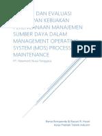 152205566 Analisis Dan Evaluasi Penerapan Kebijakan Perencanaan Manajemen Sumber Daya Dalam Management Operating System MOS Process Maintenance Di PT Newmont