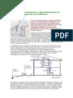 Esquema de funcionamento e dimensionamento da instalação de água fria em residências