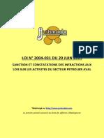 Loi 2004-31 du 29 juin 2004 infractions secteur petrolier aval