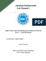 Programming Fundamentals Lab 01 (Understanding and Installation of IDE)