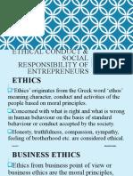 Ethical Conduct & Social Responsibilty of Entrepreneurs