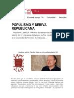 Review Jose Luis Villacanas Populismo L