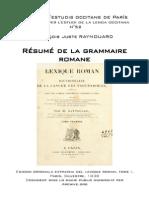 François Juste RAYNOUARD - Résumé de la grammaire romane
