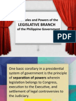 The Roles and Powers of the LEGISLATIVE BRANCH of the Philippine Government