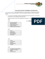 Scoring Rubric to Assess Science Teachers Knowledge for Teaching