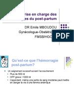 Dr Mboudou Prise en charge des hemorragies du post-partum