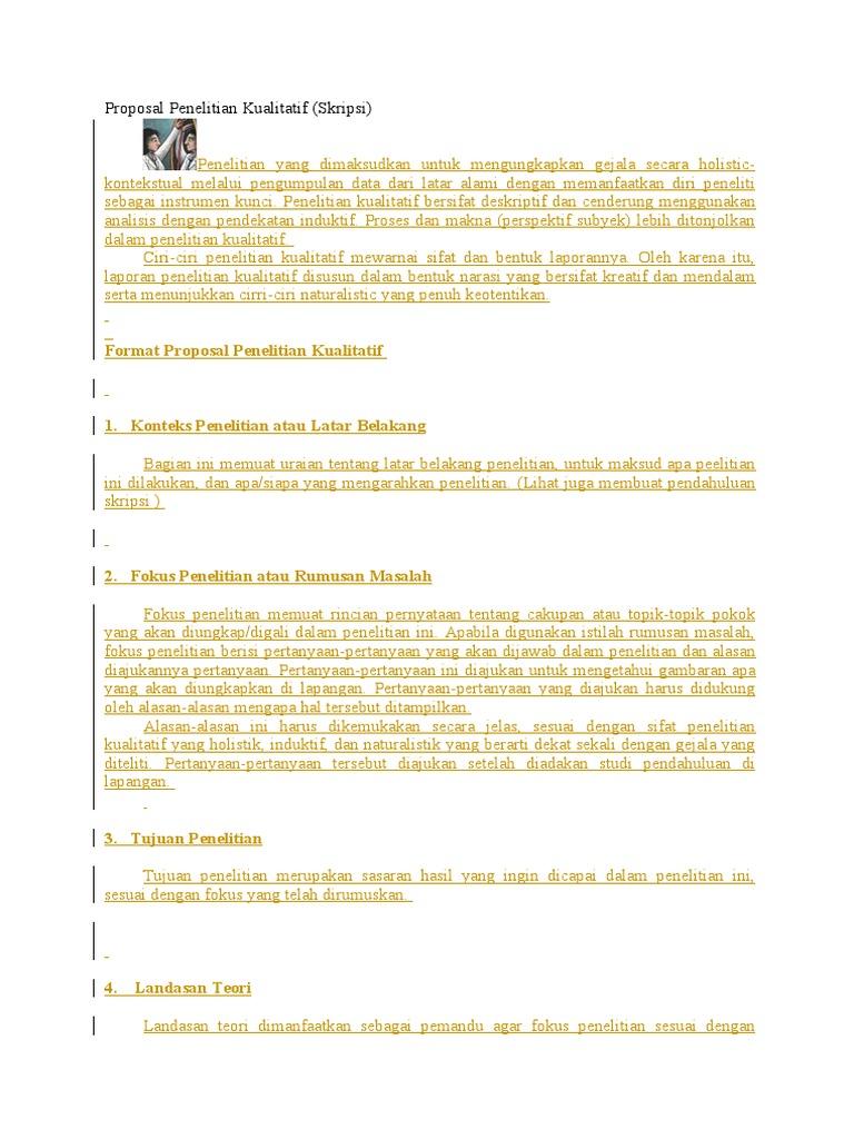 Contoh Proposal Penelitian Kualitatif   Documents