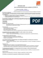 Programa Uso adecuado y seguro de desinfectantes para combatir Covid-19