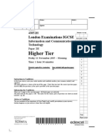 Edexcel November 2005 ICT Paper 2H