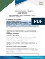 Guía de actividades y rúbrica de evaluación - Unidad 1- Paso 2 - Organización y Presentación