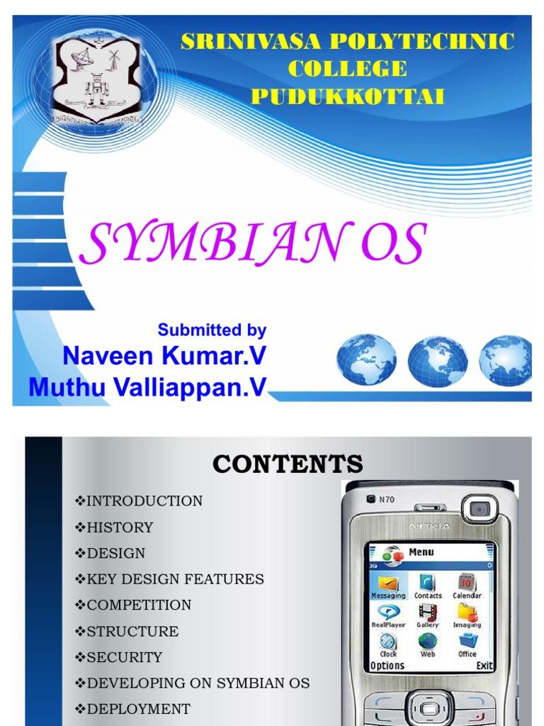 Symbian OS PPT Srinivasa Polytecnic   Software   Computing