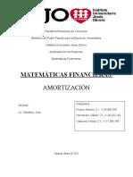 EVALUACIÓN  AMORTIZACIÓN ,IUJO 4TO SEMESTRE,ADMINISTRACIÓN, MATEMATICA FINANCIERA