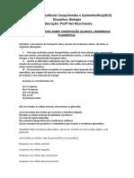 Lista de Exercicios Sobre Composição Quimica e Membrana Plasmática