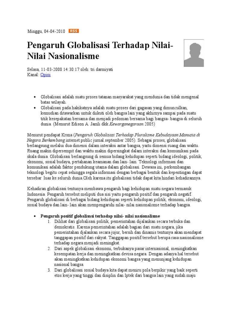 Contoh Makalah Tentang Dampak Globalisasi