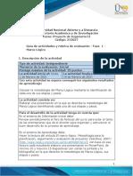 Guía de actividades y rúbrica de evaluación - Unidad 1 - Fase 1 - Marco Lógico