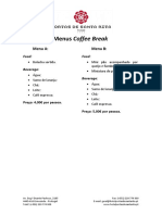 Menus Coffee Break