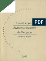 BERGSON _WORMS Introduction à Matiere Et Memoire-De-bergson-1