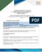 Guía de actividad y rúbrica de evaluación - Fase 1- Reconocimiento de las temáticas y actividades a desarrollar en el curso