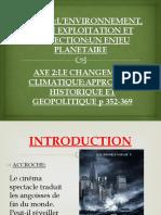 AXE 2:LE CHANGEMENT CLIMATIQUE:APPROCHES HISTORIQUE ET GEOPOLITIQUE