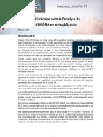INESSS - Position préliminaire suite à l'analyse de l'étude COLCORONA en prépublication
