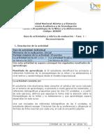 Guía de Actividades y Rúbrica de Evaluación - Unidad 1 - Fase 1 - Reconocimiento