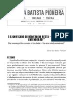 REVISTA BATISTA PIONEIRA - O SIGNIFICADO DO NÚMERO DA BESTA