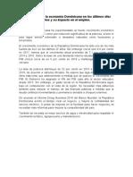 Crecimiento de la economía Dominicana en los últimos diez años y su impacto en el empleo