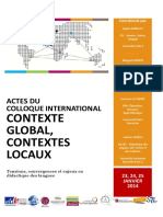 Actes Colloque Contexte Global Et Contextes Locaux Sorbonne Nouvelle Paris 3 2014