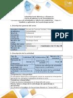 5-Guía de actividades y rúbrica de evaluación - Fase 4 - Análisis y aplicación de la psicología social