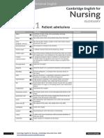 Cambridge English for Nursing Glossary Intermediate Unit1