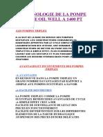 THECHNOLOGIE DE LA POMPE A BOUE OIL WELL A 1400 PT