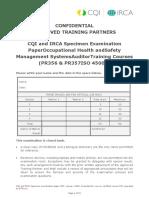 OHSMS Specimen Exam Paper
