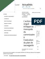 L'action Ut Singuli Échappe Au Monopole Du Commissaire À L'exécution Du Plan De Sauvegarde _ Actualités Du Droit _ Wolters Kluwer France