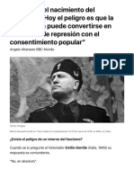 """100 años del nacimiento del fascismo- """"Hoy el peligro es que la democracia puede convertirse en una forma de represión"""