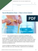 Taxa de Metabolismo Basal - O Que é e Como Calcular - MundoBoaForma.com.br