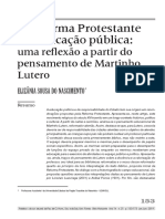 ELIZÂNIA - A Reforma Protestante e a educação pública - uma reflexão a partir do pensamento de Martin Lutero
