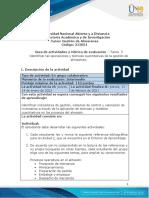 Guía de actividades y rúbrica de evaluación - Unidad 2 - Tarea 3 - Identificar las operaciones y técnicas cuantitativas de la gestión de almacenes
