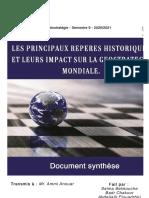 Les principaux repères historiques et leurs impact sur la géostratégie Mondiale.